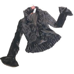 NWT Bianco Levrin Ruffle Chantal Velvet Jacket 44